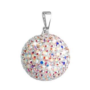 Stříbrný přívěšek koule s krystaly Crystals from Swarovski® AB