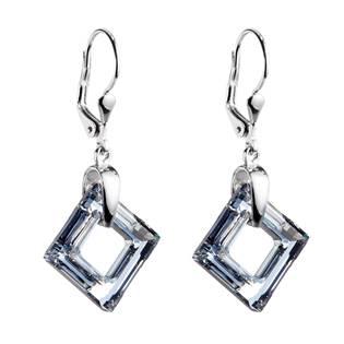 Stříbrné náušnice visací s krystaly Swarovski stříbrný kosočtverec