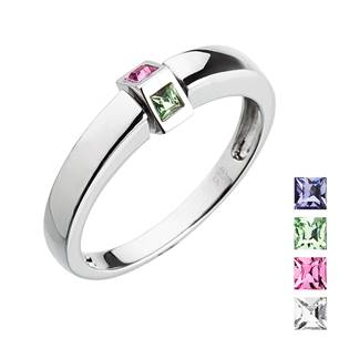 Stříbrný prsten Crystals from Swarovski® Mix barev, vel: 54