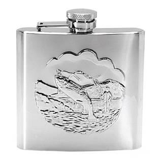 Ocelová kapesní lahev s rybou - placatka 180ml