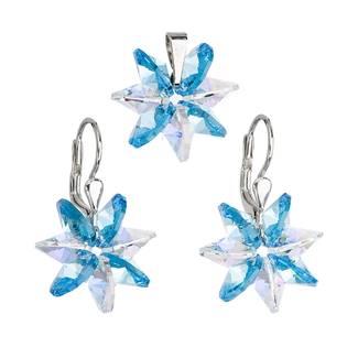 Stříbrný set náušnic a přívěšku s krystaly Swarovski®, Aqua