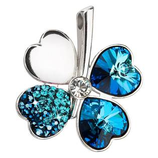 Stříbrný přívěšek čtyřlístek s krystaly Crystals from Swarovski® Bermuda Blue