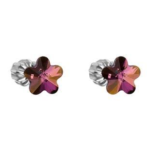 Stříbrné náušnice kytičky Crystals from Swarovski® Lilac Shadow