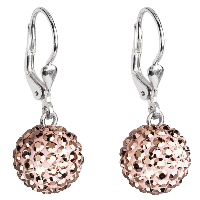 Stříbrné náušnice kuličky s krystaly Crystals from Swarovski® Rose Gold EG2000-RG