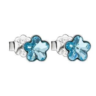 Stříbrné náušnice kytičky Crystals from Swarovski® Aqua