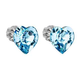 Stříbrné náušnice srdíčka Crystals from Swarovski® Aqua