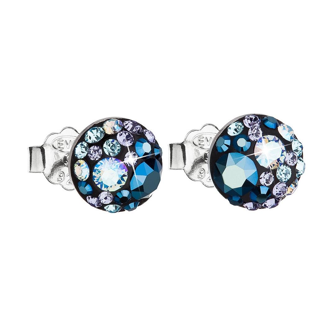 Stříbrné náušnice s krystaly Crystals from Swarovski®, Blue Style EG2008-BS