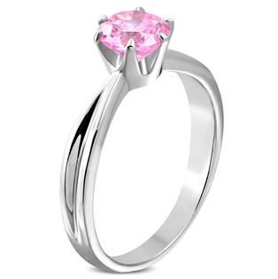Ocelový prsten se růžovým zirkonem OPR1607 vel.60