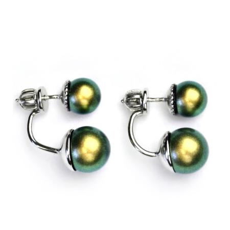 Stříbrné zanáušnice se kovově zelenými perlami CS5647