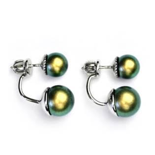 Stříbrné zanáušnice se kovově zelenými perlami