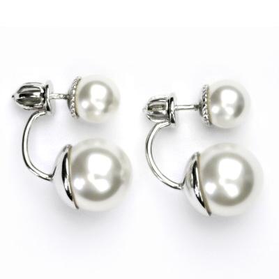 Stříbrné zanáušnice se syntetickými perlami CS5645