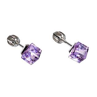 Stříbrné náušnice kostky Crystals from Swarovski® Violet