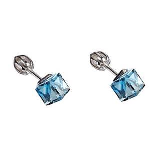 Stříbrné náušnice kostky Crystals from Swarovski® Aqua