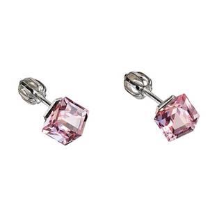 Stříbrné náušnice kostky Crystals from Swarovski® Light Rose