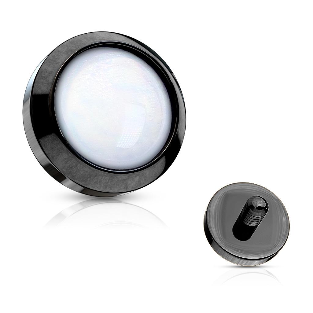 Čierny microdermal - ozdobná časť - priemer 4 mm, farba biela