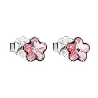Stříbrné náušnice kytičky Crystals from Swarovski® Rose