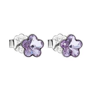 Stříbrné náušnice kytičky Crystals from Swarovski® Violet
