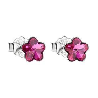 Stříbrné náušnice kytičky Crystals from Swarovski® Fuchsia
