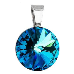 Stříbrný přívěšek rivoli Crystals from Swarovski® Bermuda Blue 12 mm