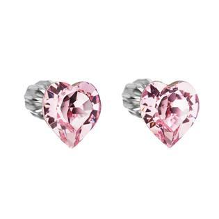 Stříbrné náušnice srdíčka Crystals from Swarovski® Rose