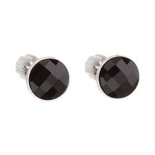 Stříbrné šroubovací náušnice s Crystals from Swarovski® Black Jet EG2017-K