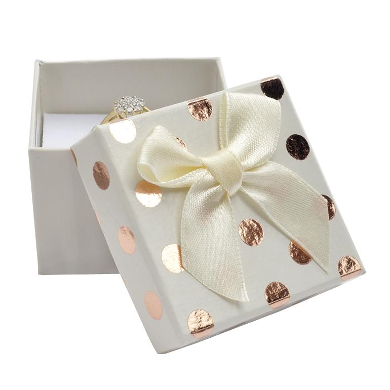 Dárková krabička na prsten/náušnice, bílá se zlatými puntíky