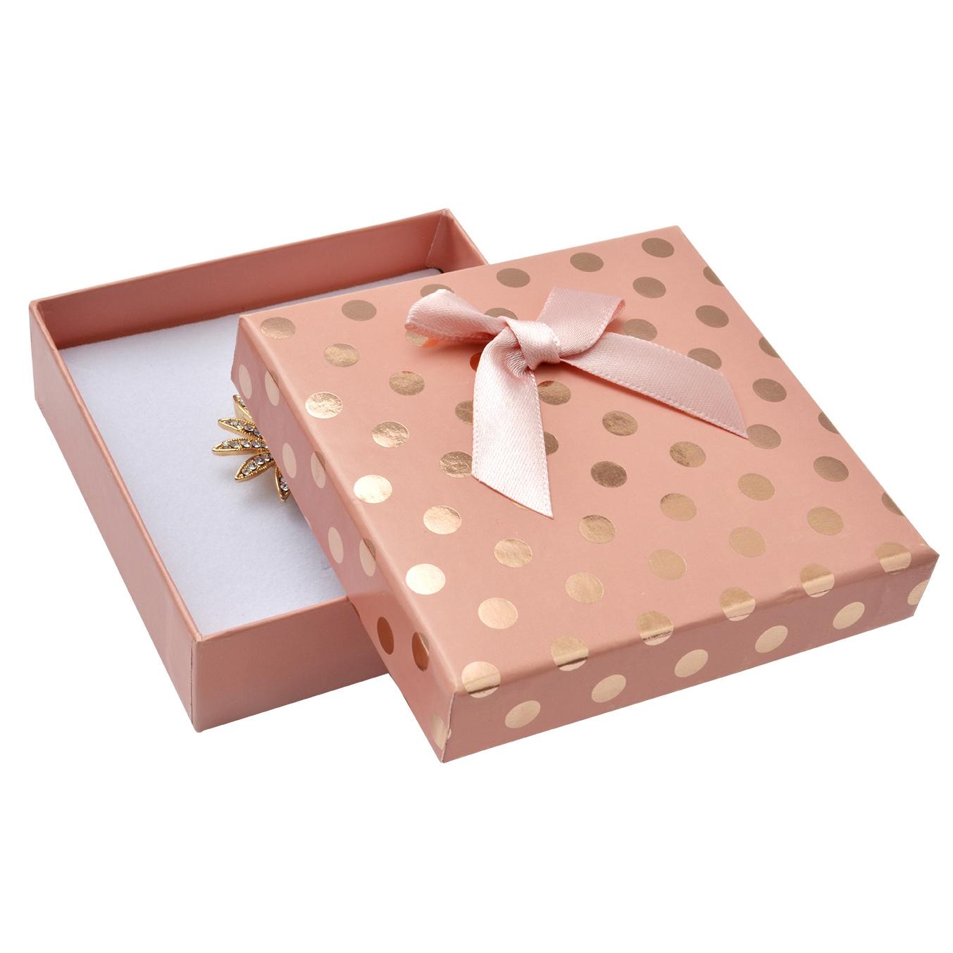 Dárková krabička na soupravu, růžová se zlatými puntíky