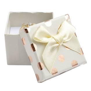 Dárková krabička na prsten, bílá se zlatými puntíky