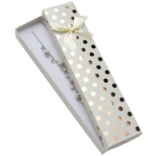 KR0304-WH Dárková krabička na náramek, bílá se zlatými puntíky