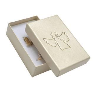 Krémová dárková krabička na soupravu, zlatý anděl
