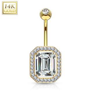 Zlatý piercing do pupíku s kubickými zirkony, Au 585/1000