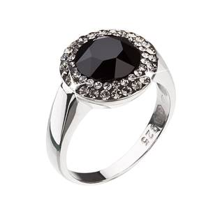 Stříbrný prsten Crystals from Swarovski®, Black Jet