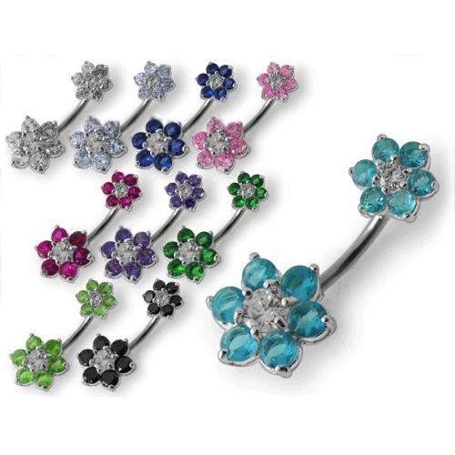 Stříbrný piercing do pupíku - kytičky fialová BP01109-A