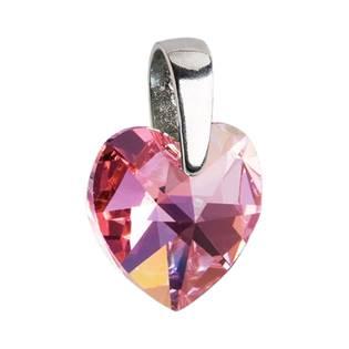 Stříbrný přívěšek srdce Crystals from Swarovski® Rose 14 mm