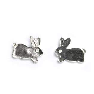 Stříbrné šroubovací náušnice králíčci