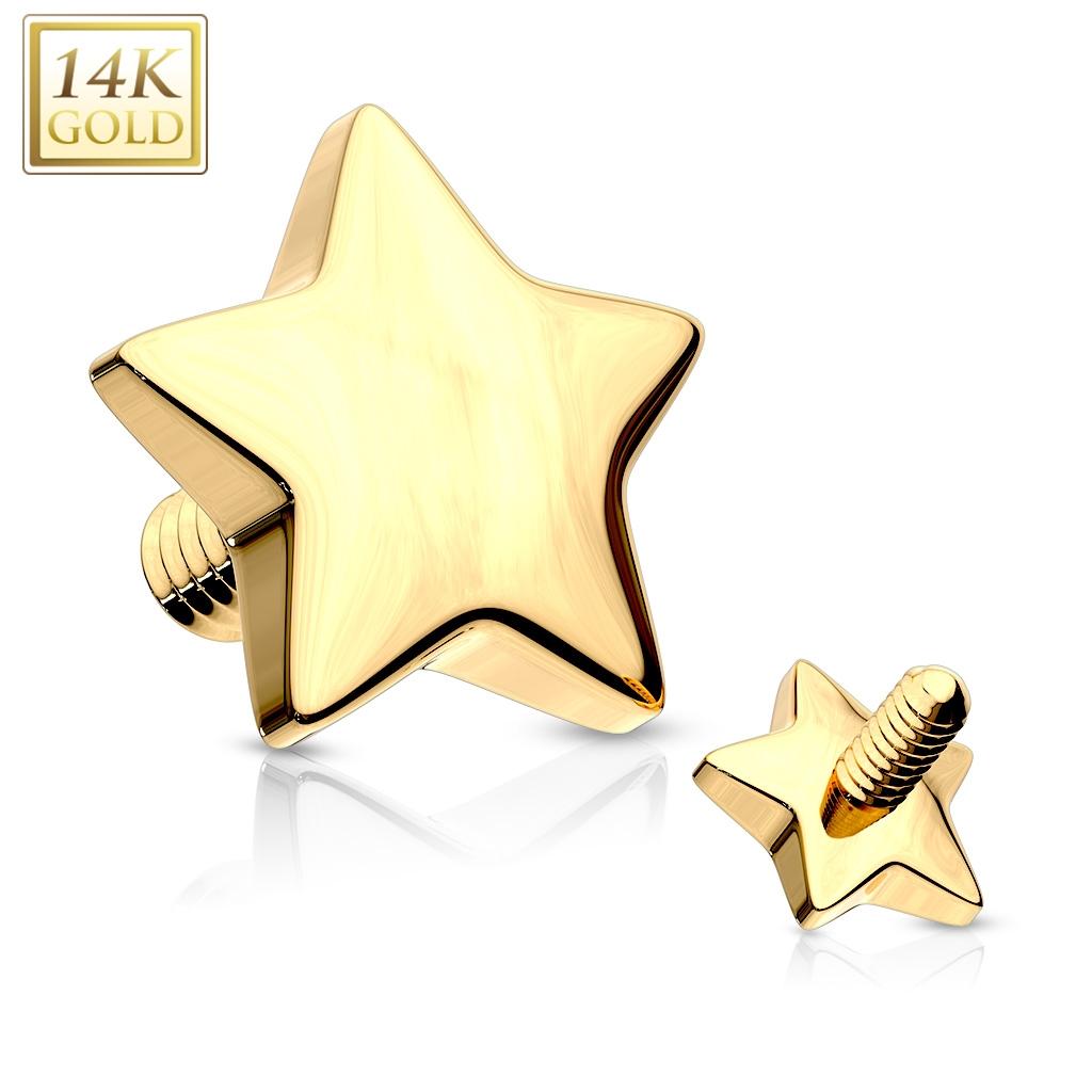 Zlatý piercing - dermál hvězdička 4 mm, Au 585/1000