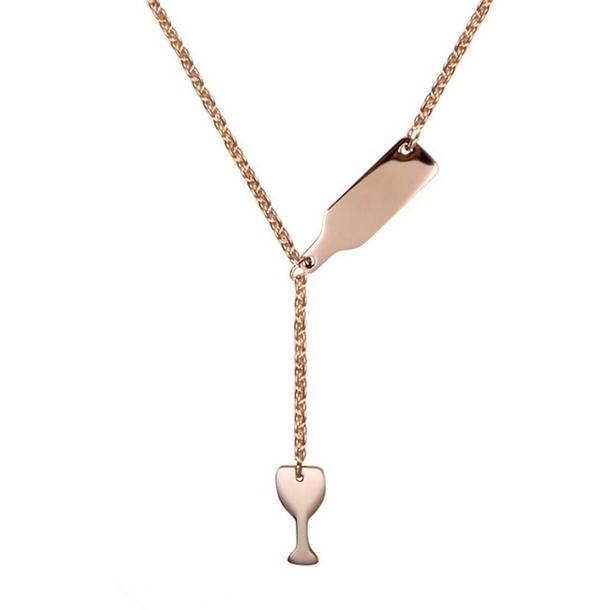 """Zlacený ocelový náhrdelník """"lahev vína"""""""