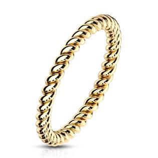 Zlacený ocelový prsten kroucený OPR1757GD