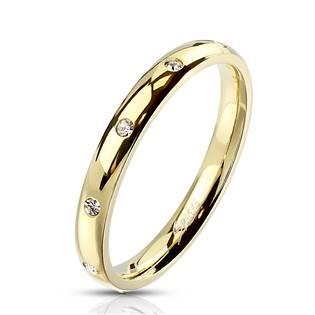 Zlacený celový prsten se zirkony OPR1759GD