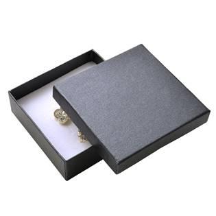 Dárková krabička na soupravu šperků - kovově tmavě šedá