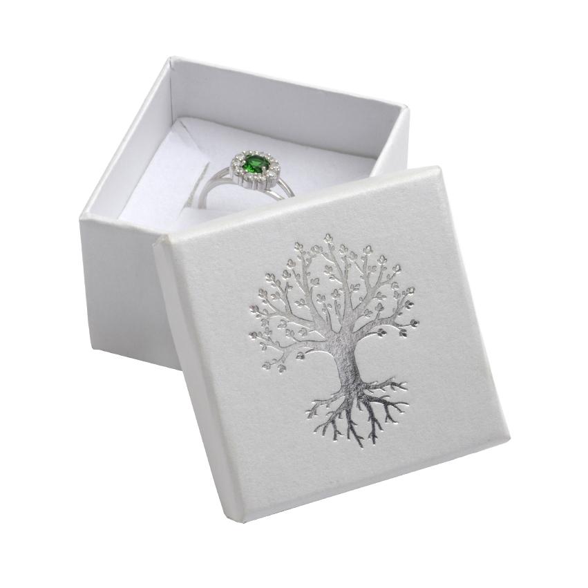 Dárková krabička na prsten, stříbrný strom života
