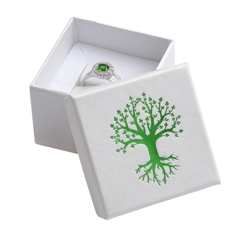 Darčeková krabička na prsteň, zelený strom života
