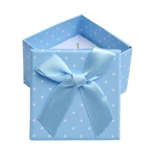 Dárková krabička na prsten modrá - bílé puntíky