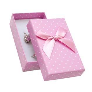 Krabička na soupravu šperků růžová, s puntíky
