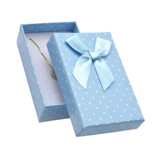 Krabička na soupravu šperků modrá, s puntíky