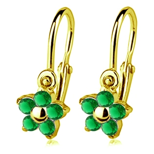 Zlaté detské náušnice s kameňmi Crystals from SWAROVSKI®, farba: Emerald