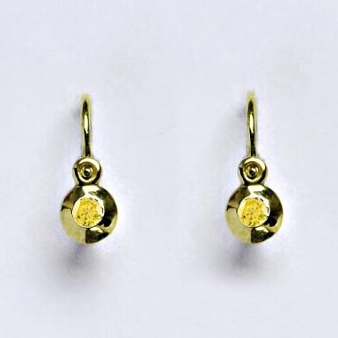 Zlaté detské náušnice žlté zirkóny