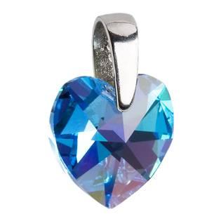 Stříbrný přívěšek srdce Crystals from Swarovski® Aqua 14 mm