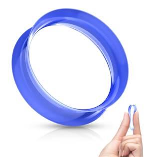 Silikonový tunel do ucha tenkostěnný - modrý