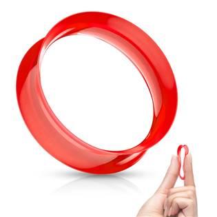 Silikonový tunel do ucha tenkostěnný - červený